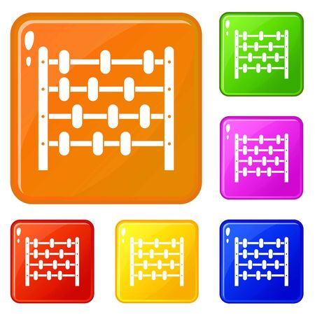 Children abacus icons set vector color