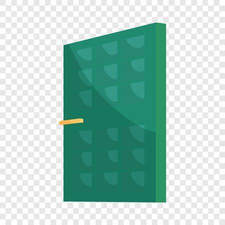 Green house door icon, cartoon style