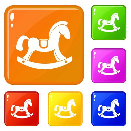 Toy horse icons set vector color