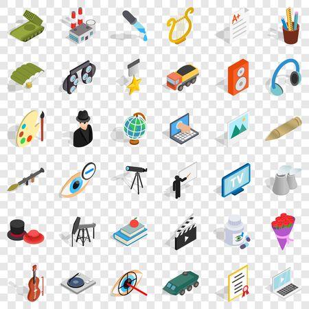 Acting icons set, isometric style