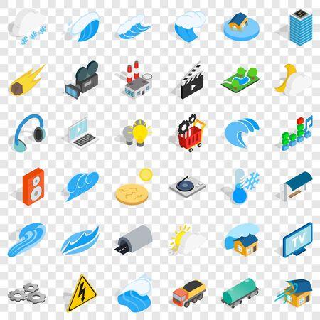 Energy icons set, isometric style