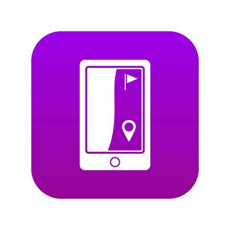 Golf course navigator icon digital purple Иллюстрация