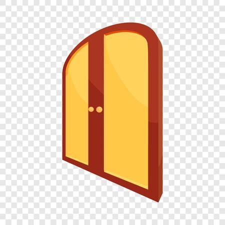 Double yellow door icon. Cartoon illustration of door vector icon for web design