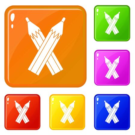Pencils icons set vector color