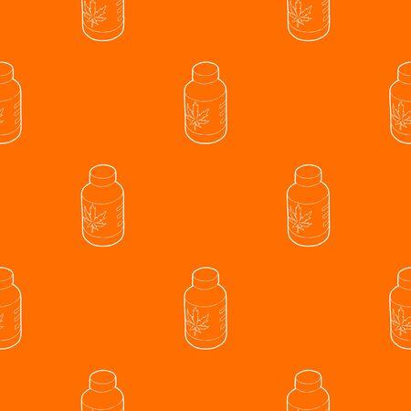 Medical marijua bottle pattern vector orange