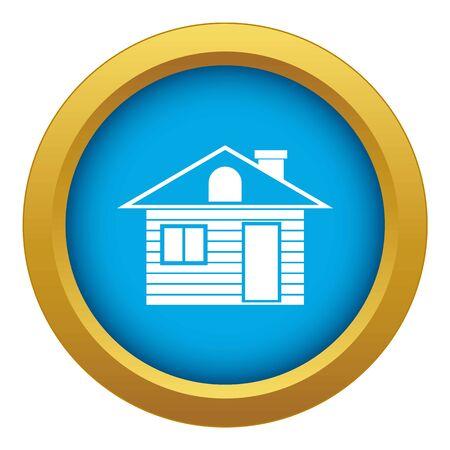 Wooden log house icon blue vector isolated Ilustração