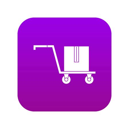 Delivery cart with box icon digital purple for any design isolated on white vector illustration