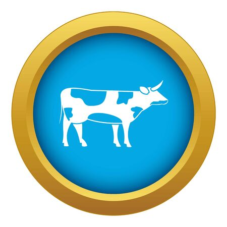 Switzerland cow icon blue vector isolated on white background for any design