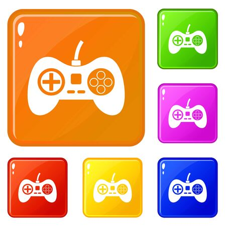 Video game console controller icons set collection vector 6 color isolated on white background