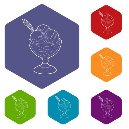 Ice cream icons vector hexahedron