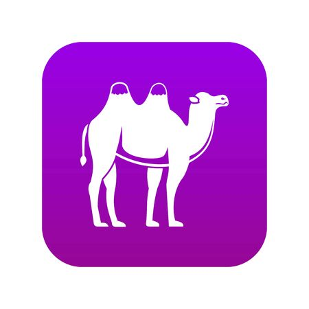 Camel icon digital purple for any design isolated on white vector illustration
