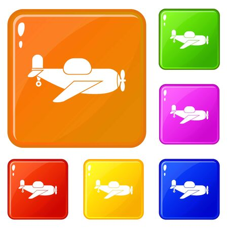 Toy plane icons set collection vector 6 color isolated on white background
