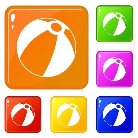 Beach ball icons set vector color
