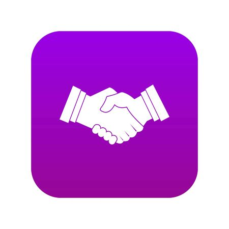 Business handshake icon digital purple for any design isolated on white vector illustration  イラスト・ベクター素材