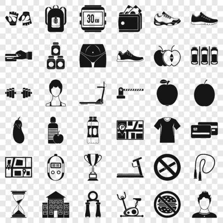 Treadmill icons set, simple style Ilustração
