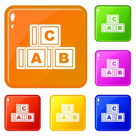 ABC cubes icons set collection vector 6 color isolated on white background