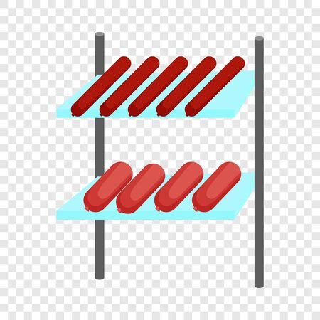 Shelves with sausages icon. Cartoon illustration of shelves with sausages vector icon for web