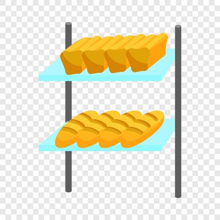 Loaves of bread on shelves icon. Cartoon illustration of bread on shelves vector icon for web