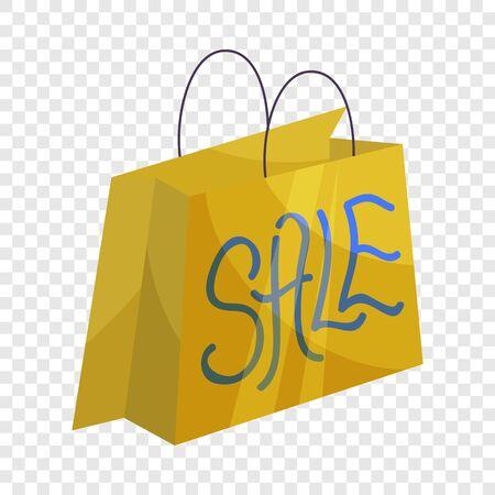 Sale paper shopping bag icon. Cartoon illustration of sale paper shopping bag vector icon for web