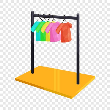 Clothes hanging on the rack icon. Cartoon illustration of clothes hanging on the rack vector icon for web