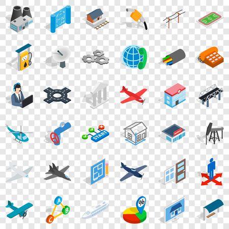 Engineering icons set, isometric style Çizim