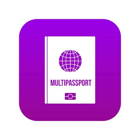 Multipassport icon digital purple for any design isolated on white vector illustration