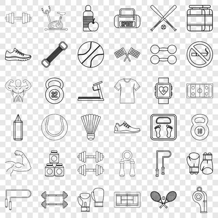 Diet icons set, outline style