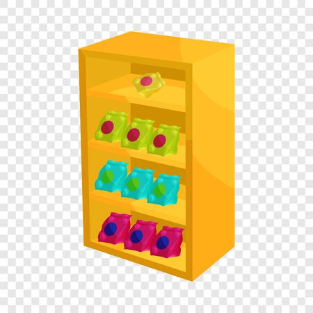 Supermarket shelf with cookies icon. Cartoon illustration of shelf with cookies vector icon for web Illustration