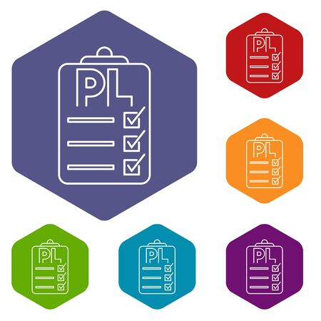 Clipboard with PL icons vector colorful hexahedron set collection isolated on white