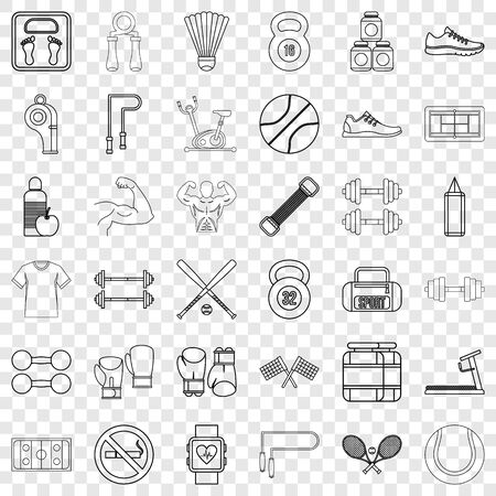 Gym icons set, outline style