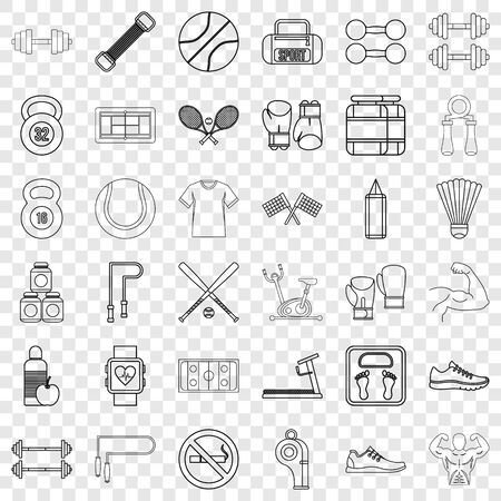 Heartbeat icons set, outline style Illustration