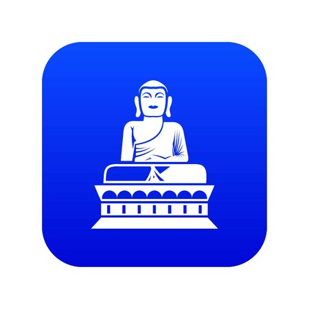 Buddha statue icon digital blue for any design isolated on white illustration Stock Photo