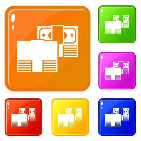 Finance money icons set color 스톡 콘텐츠