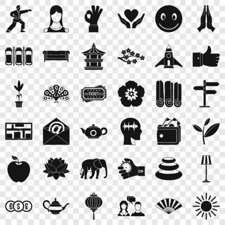 Yoga studio icons set, simple style Stok Fotoğraf