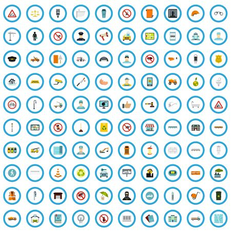 100 municipal icons set in flat style for any design illustration Banco de Imagens - 126966554