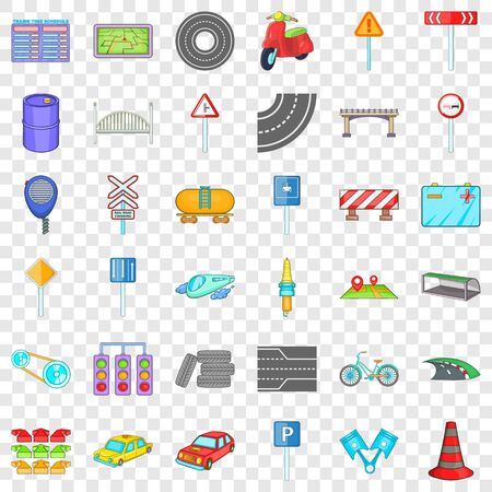 Crossroad icons set. Cartoon of 36 crossroad ector icons for web for any design