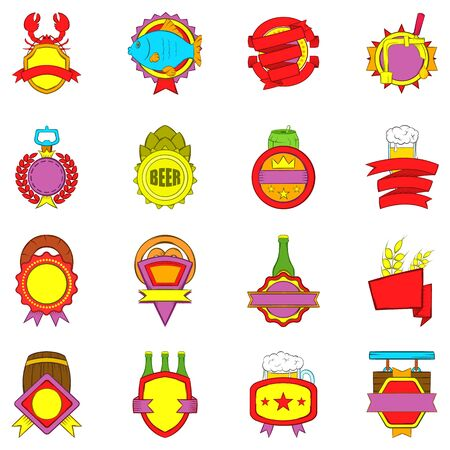 Beer star icons set. Cartoon set of 16 beer star vector icons for web isolated on white background