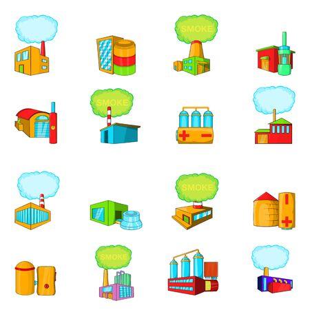 Conjunto de iconos de fábrica. Conjunto de dibujos animados de 16 iconos de vector de fábrica para web aislado sobre fondo blanco