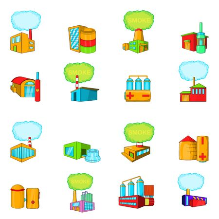 Factory icons set. Cartoon set of 16 factory vector icons for web isolated on white background