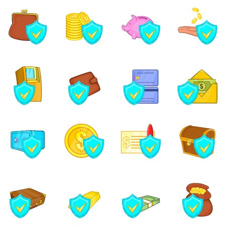 Money protect icons set. Cartoon set of 16 money protect vector icons for web isolated on white background
