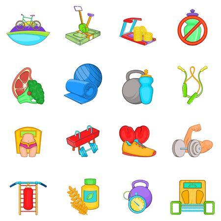 Training icons set. Cartoon set of 16 training vector icons for web isolated on white background Illusztráció
