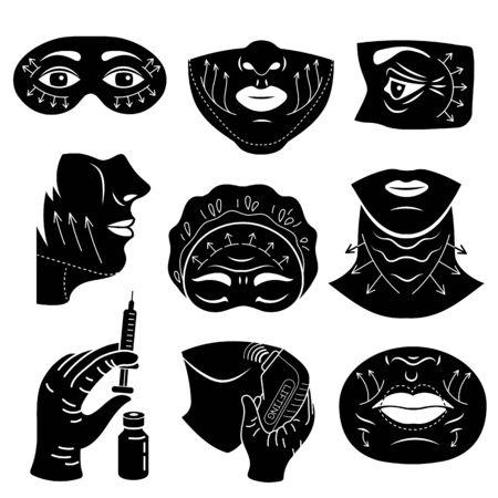 Lifting facial icons set, simple style Ilustração