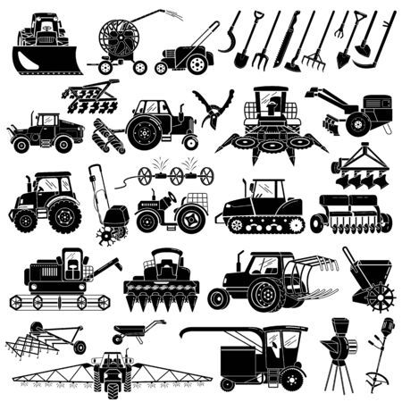 Farming equipment icons set. Simple set of farming equipment vector icons for web design on white background Illustration