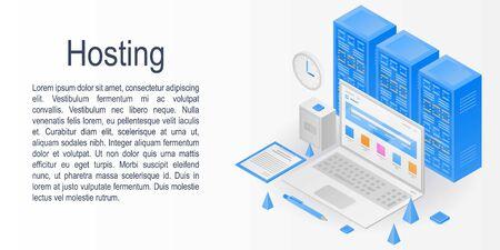 Hosting concept banner. Isometric illustration of hosting vector concept banner for web design Vector Illustration