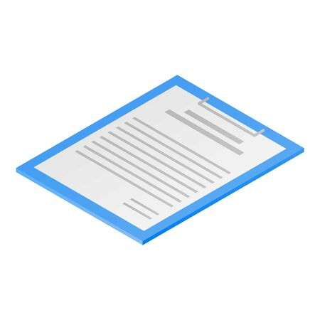 Clipboard paper icon. Isometric of clipboard paper vector icon for web design isolated on white background