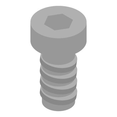 Hexagonal screw-bolt icon. Isometric of hexagonal screw-bolt vector icon for web design isolated on white background