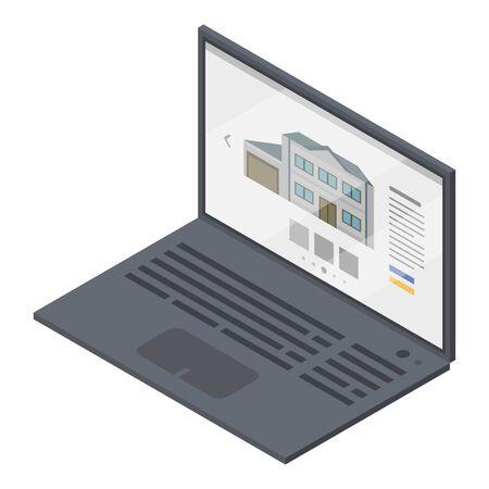 Mortgage laptop icon. Isometric of mortgage laptop vector icon for web design isolated on white background Ilustração