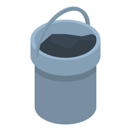 Coal bucket icon, isometric style Ilustração
