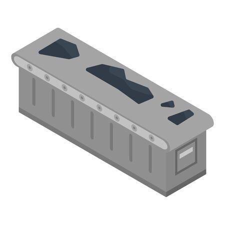 Coal conveyor icon, isometric style