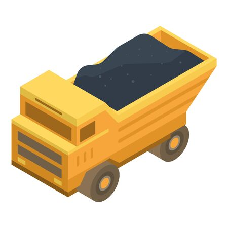 Coal dump truck icon. Isometric of coal dump truck vector icon for web design isolated on white background Illustration